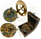 """3"""" Brass Compass Sundial with Wooden Box Antique/ Vintage Clock Gifts For Sailor"""