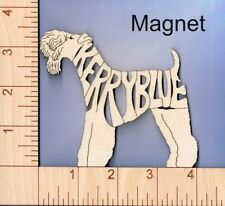 Kerry Blue Terrier Dog laser cut and engraved wood Magnet