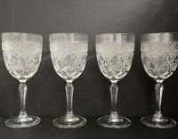 "VTG Set Of 4 Cris D'Arques French Crystal Cut Wine Glasses Hollywood Regrncy 8""H"