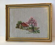Vintage Needlepoint Professionally Framed Wall Picture Of House & Landscape 9X11