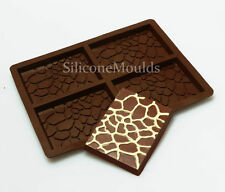 4 cell Giraffe Skin Chocolate Candy Bar Chocolatier Artisan Silicone Mould Mold