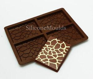 4 cell Giraffe Skin Chocolate Candy Bar Chocolatier Artisan Silicone Mould Mold