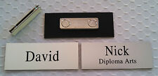 """Employee Name Tags 3.25""""x1.25"""" Silver, Custom Engraved w/ magnetic attachment"""