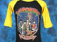 NOS vintage 80s KROKUS CONCERT JERSEY T-Shirt SMALL rock metal tour raglan thin
