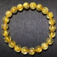 8.5mm Natural Gold Rutilated Quartz Stretch Crystal Beads Bracelet AAA