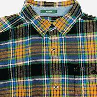 Woolrich Mens Large Shirt Classic Plaid Trout Run Blue Brown Flannel Long Sleeve