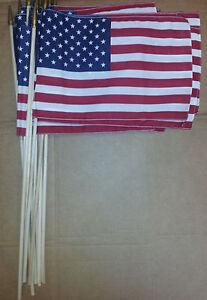 "12"" x 18"" USA flags with wooden pole (DOZEN)"