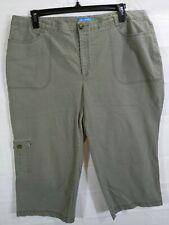 DOCKERS Womens Plus Green Mid Rise Regular Fit Stretch Cargo Khaki Capri sz 22(?