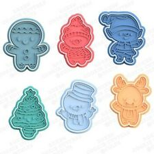 Christmas Cookie Cutter Characters Biscuit Fondant Baking Cake Embosser Set