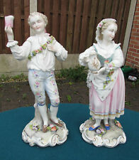 FINE QUALITY PAIR OF CONTINENTAL ANTIQUE FIGURES - PERFECT!
