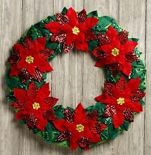 Bucilla Poinsettia Wreath ~ Felt Christmas Home Decor Kit #86827 Flowers, Leaves