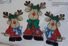 "Rockin Rudy Fold-Up Reindeer Dolls Fabric Panel Daisy Kingdom 11 & 17"" Tall Xmas"