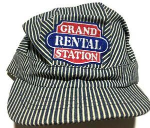 Vintage Railroad Engineer Hat Hickory Stripe Denim Grand Rental Station Snapback