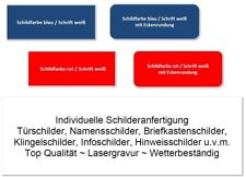 Türschild, Namensschild, Klingelschild, Infoschild, Hinweisschild, inkl. Gravur