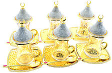 24 Pcs Turkish Tea Glasses Saucers Spoons Lids Set,Decorated with Crystals, Gold