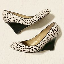 Ann Taylor Womens Shoes Wedges Animal Print Ivory Calf Hair Leather Size 5.5