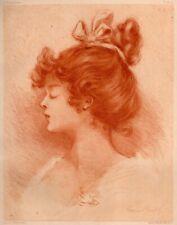 Henri Boutet Paulinette Young Girl Pastel - Original Etching 1903 L'eau forte