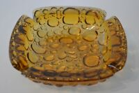 Vintage Blenko Glass Ashtray Pebble Textured Art Retro Amber Bubble Square Clear