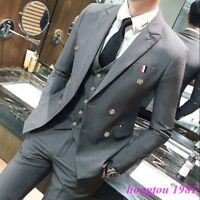 3PCS Mens Double-Breasted Groom Dress Formal Business Coat pants Vest Suits new