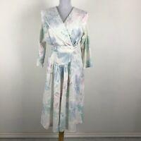 Vintage 1980s Dress Multicolor Floral Lace Accent Pastel V-Neck Size M Party