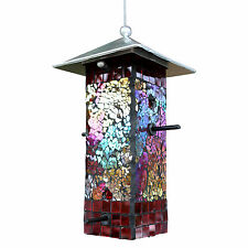 Garden Art Mosaic Stained Glass Mirror Seed Bird Feeder Yard Outdoor FREE USSHIP