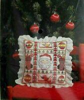 B H & G Candamar Designs Tis The Season Pillow Cross Stitch Kit Santa Christmas
