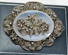 Victorian SOLID SILVER & AGATE Stunning CANNETILLE Filigree Flowers BROOCH Pin