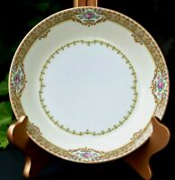 "Vtg Set 4 Meito Fine China ANNETTE 7.5"" Japan SOUP PASTA Bowls Gold Leaf Elegant"