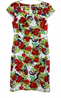 Jacqui E Womens White Floral Cap Sleeve Lined Pencil Dress Size 10