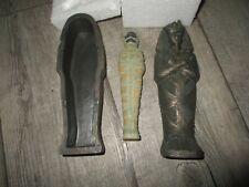 Egypte-Rare sarcophage avec momie-Résine patinée bronze-Grand modèle 18cm-Neuf