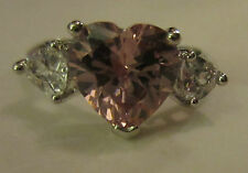 Ring Size 9 Brilliant Pink Heart CZ Cluster Shiny Silver Rhodium Finish NWT #2