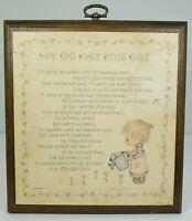 Hallmark Betsey Clark Why God Made Little Girls Wooden Plaque Springbok Vintage