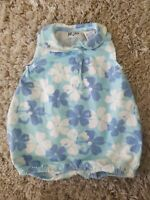 Adorable Nautica Baby Girls 12mo Outfit Blue Flowers Summer Romper One Piece