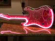 "Neon Pink Guitar Design Wall Clock 29"" x 10"" White/Pink N-0012-N"