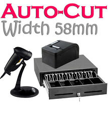 Cashier Retail System Cash Register Drawer Receipt Printer Barcode Laser Scanner