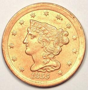 1855 Braided Half Cent 1/2C - Uncirculated Details (UNC MS, Cleaned) - Rare Coin