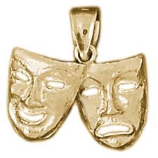 New 14k Gold Drama Mask Pendant