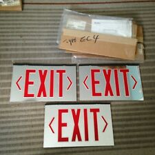 3 Vintage NOS Prescolite Mirrored EXIT Signs~2 Sided~Signs Only Boxed