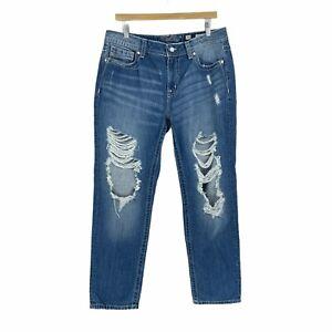 Miss Me Women's Ankle Boyfriend Distressed Denim Jeans Blue Sz 30 100% Cotton