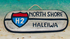New North Shore Hawaii H2 Interstate Surfing Hanging Wood Sign Tropical Decor