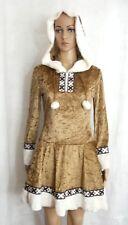 Eskimo Girl Fancy Dress Costume Halloween Golden Brown White Faux Fur Trim Jr M
