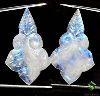 19.77 Cts Natural Rainbow Moonstone Hand Made Carving Pair 26x17 mm Loose Gems