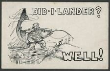 Lander WY: c.1910-20 Cartoon Postcard by SCOTT, DID I LANDER? WELL! Big Fish