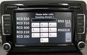 VW Volkswagen Radio Code Unlock Decode Service