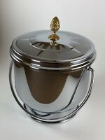 Vtg Mid Century Modern MCM Stainless Chrome Ice Bucket Brass Pineapple Recipes