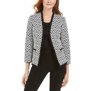 Kasper Womens B/W Jacquard Zig Zag Office Collarless Blazer Jacket 12 BHFO 2054