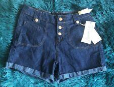 Primark High Waist Blue Dark Denim Button Shorts Vintage Holiday Size 12 BNWT