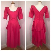 LAURA ASHLEY Vintage Hot Pink Fuchsia Puff Sleeve Teas Ball Dress Gown Bustle 12