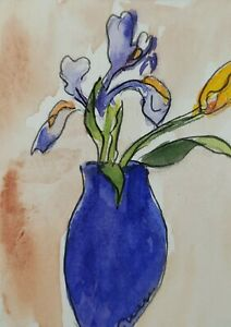 Original ACEO or ATC watercolor - Blue Vase with Iris and Tulip