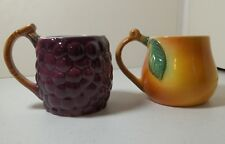 Ancora Made In Italy Hand Painted Grape & Peach Fruit Shaped Coffee Tea